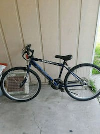 blue and black hardtail mountain bike