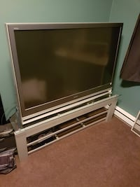 "gray and black 55"" TV with stand and new bulb Kelowna"