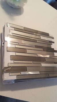 Grey and stainless glass tiles