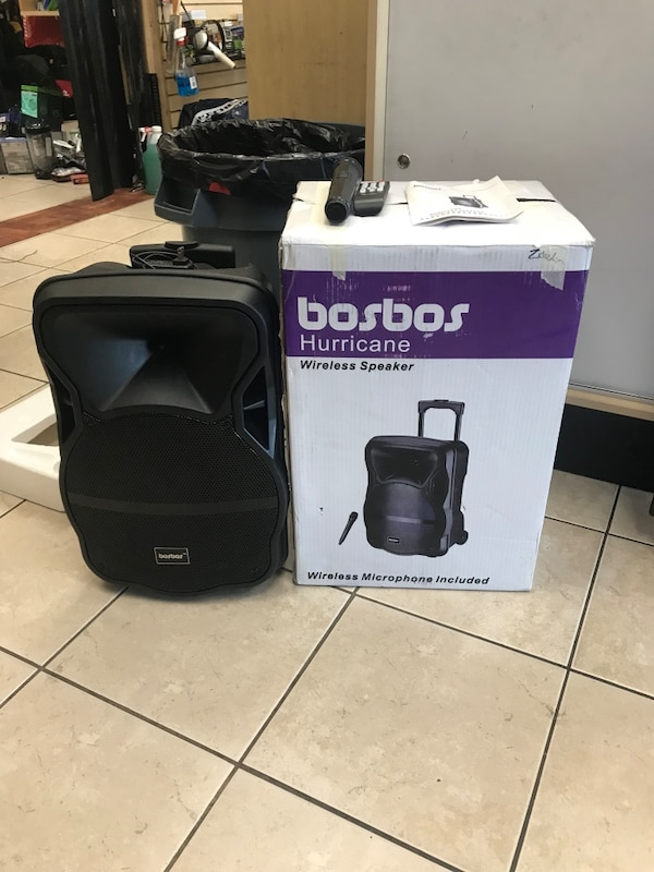722b890f75d Used BosBos Hurricane Wireless Speaker W/ Remote + Microphone for sale in  Tampa - letgo
