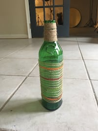 Green up-cycled glass bottle