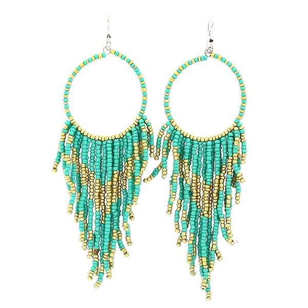 Golder and green bead earring