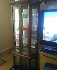 brown wooden framed glass display cabinet Ranson, 25438