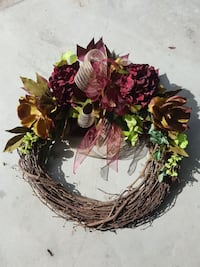 red and green flower wreath