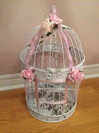 white metal floral bird cage