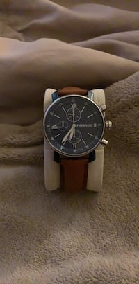 round black chronograph watch with brown leather strap Alexandria, 22304