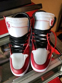 pair of white-and-red Air Jordan shoes Toronto, M5R 1J6