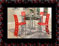 Red counter height table with 4 chairs Largo, 20774