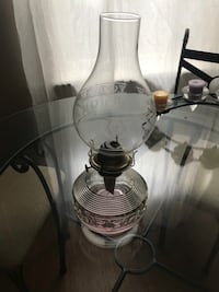 Antique oil lamp- pink tone glass