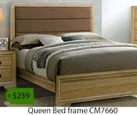 brown wooden bed frame with white mattress La Mirada, 90639