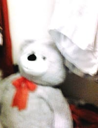 white and red bear plush toy Frederick, 21703