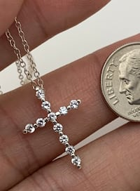 925 sterling silver cz cross & necklace  Greer, 29650