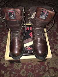brown Red Head leather combat boots with box Winchester, 22602