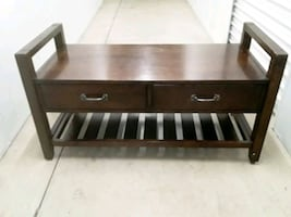 Wooden Bench with storage drawers