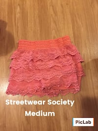 Medium pink lace mini skirt street wear society
