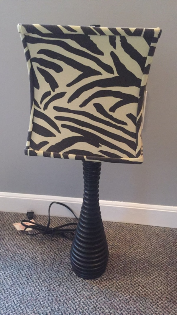 Used Black And White Zebra Print Table Lamp For Sale In
