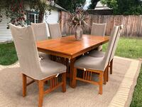 Wood Dining Table & (Leaf included) & Chairs W/Sure-fit Slip Covers (G Pasadena, 91105