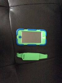 Blue iPod 6 Gen 32gb with green and blue all terrain griffin survivor case with belt clip