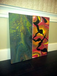 Two 12x24 abstract paintings on canvas