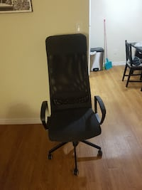 black leather office rolling armchair VANCOUVER