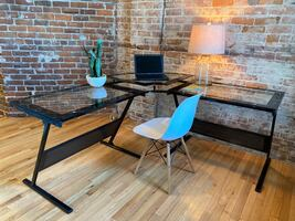 Industrial Glass and Metal Desk