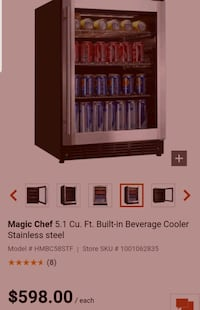 Magic Chef5.1 Cu. Ft. Built-in Beverage Cooler Stainless steel   Toronto, M3M