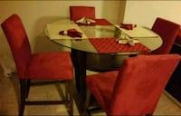 Glass dining high top table w/chairs 93 mi