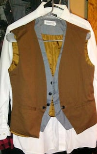 brown and white button-up vest Odessa, 79761