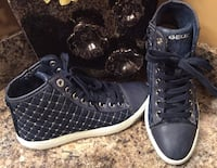 Geox dark blue & white plaid high cut shoes Calgary, T2J