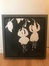 black wooden framed painting of white petaled flowers Surrey, V3S 6K4