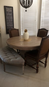 Round brown wooden table! No chairs