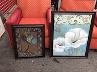 two paintings of white and blue poppies