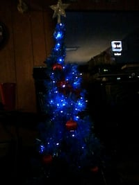 3 foot blue Christmas tree with blue lights