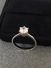 BRAND NEW|SIZE 7| Solitaire Cut 1 Carat CZ DIAMOND|14K WHITE GOLD PLATED|COLOR CLEAR|GIFT BOX  Alexandria