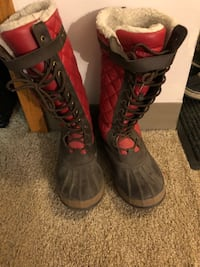 pair of black-and-red boots