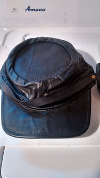 VINTAGE LEATHER MOTORCYCLE HAT AND BELT BAG