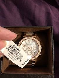 round silver chronograph watch with link bracelet Peekskill, 10566