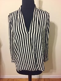 black and white striped surplice-neckline long-sleeved blouse