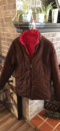 brown and red zip-up jacket