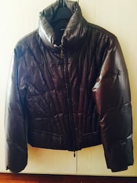 pelle marrone giacca con zip-up bolla 6979 km