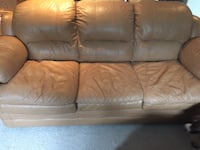 Tan leather bonded couch Havelock-Belmont-Methuen, K0L