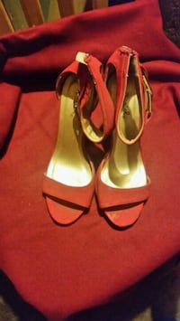 pair of red leather open-toe ankle strap heels Phoenix, 85023