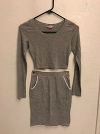 Grey croptop with matching skirt size S