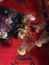 Brass chandelier with six lights with globes. Washington, 20009