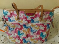 white, red, and blue butterfly print tote bag