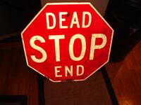 Antique Wood Stop Sign from Hempstead NY Cranford