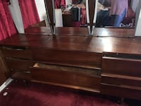 Antique Brown wooden dresser with mirror couch and chair New York, 11216
