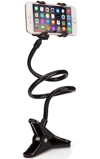 Universal Cell Phone Clip Holder Lazy Bracket Flexible Long Arms for iPhone,Smartphone,GPS Devices, Fit On Desktop Bed Mobile Stand for Bedroom, Office, Bathroom, Kitchen (black) 纽约市, 11373