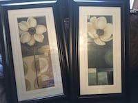 Two black wooden framed painting of white flowers Oakville, L6H 4Y7