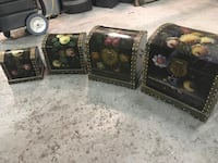 Four wooden chest , hand painted . Décors  Côte-Saint-Luc, H4W 2W6